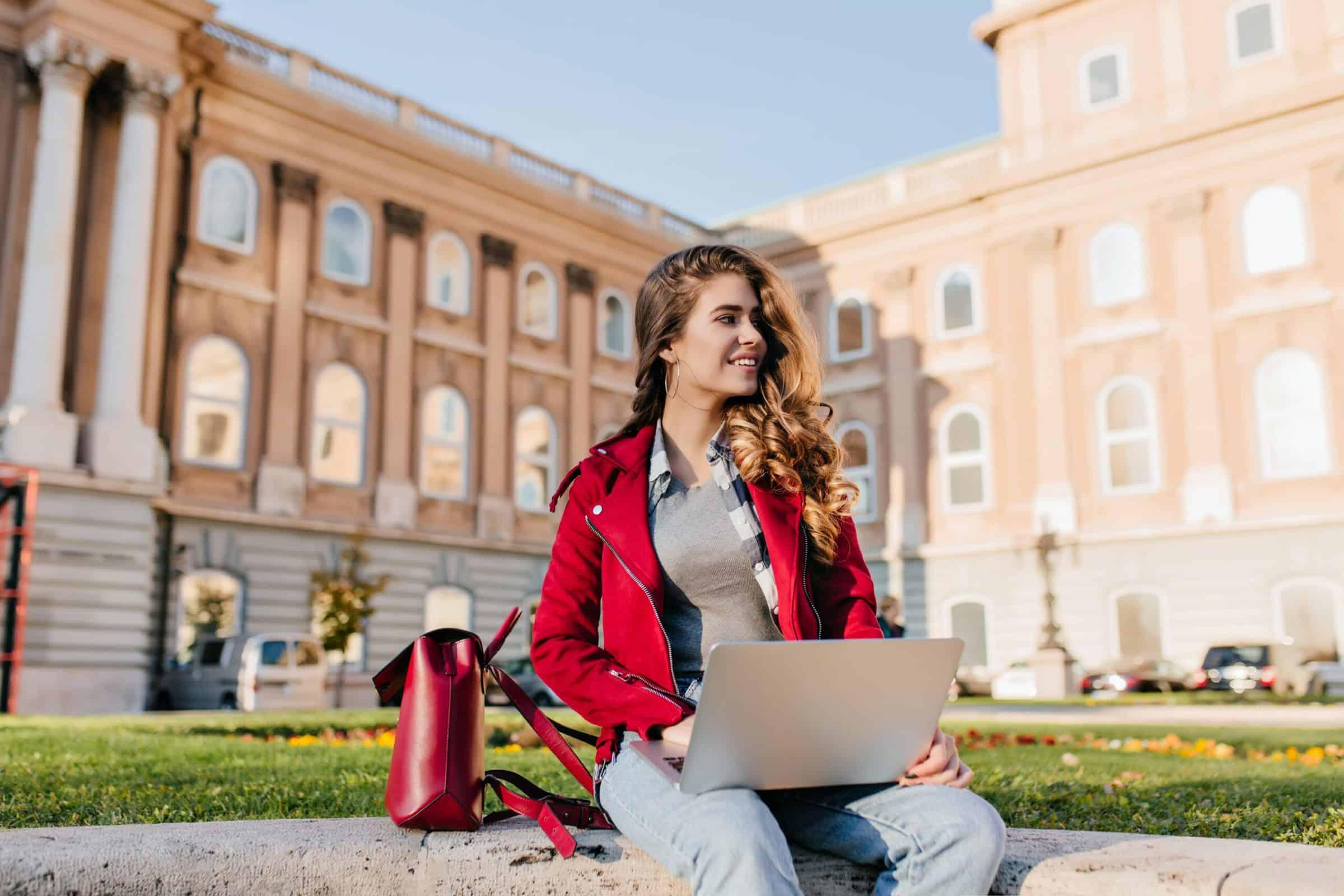 Girl in university studying